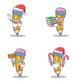 set of pencil character with santa candy book vector image vector image