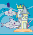sharks with sea animal and castle style vector image vector image