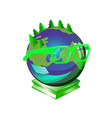 smart earth planet wearing glasses a symbol of vector image