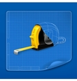 Tape measure drawing blueprint vector image