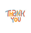 thank you lettering cartoon text for cute vector image