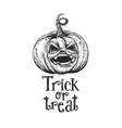 trick or treat halloween pumpkin sketch vector image vector image