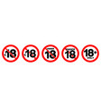 under 18 not allowed sign number eighteen in red vector image