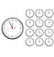 wall office clock icon set showing every hours vector image