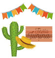 white background with cactus and hat celebration vector image