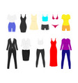 woman clothes flat set red long and short black vector image vector image