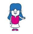 cute little girl smiling character kid vector image