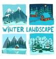 Winter Landscape Digital Graphic Set vector image