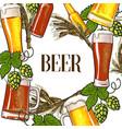 banner of beer bottle mug and glass malt and hop vector image