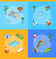 aqua park banner card set isometric view vector image vector image