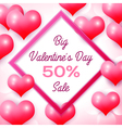 Big Valentines day Sale 50 percent discounts with vector image vector image