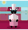 Blue and pink green cat cook in the kitchen vector image