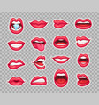 candy lips patches vintage 80s fashion stickers vector image vector image