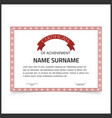 certificate template with red designe borders on vector image vector image