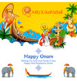 colorful holiday banner background for happy onam vector image vector image