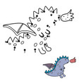 connect dots and draw a cute little dragon vector image vector image