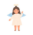 cute angel smiling and greeting smb with hi vector image vector image