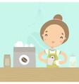cute girl barista preparing drink at counter vector image vector image