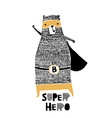 cute hand drawn with ink bear hero cartoon super vector image vector image