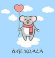 cute koala flying in sky with heart balloon vector image vector image