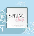 design banner with lettering spring is here logo vector image vector image