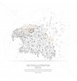 digitally drawn eagle head low poly wire frame vector image