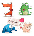 dog frog elephant cow - set animals vector image