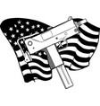 draw in black and white weapont uzi vector image vector image