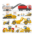 excavator for road construction digger vector image