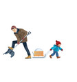 father and son work together dad and boy cleans vector image vector image