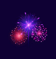 festive colorful fireworks on dark blue background vector image vector image