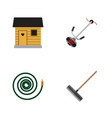 flat icon dacha set of grass-cutter hosepipe vector image vector image