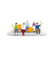football fans sitting on seats semi flat rgb color vector image vector image