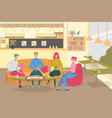 friends play board game in cafe flat vector image vector image