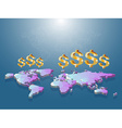 Golden dollar sign floating on low poly of world vector image vector image