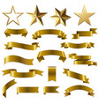 golden ribbons and stars set vector image vector image