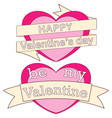 happy be my valentine day colorful poster hearts vector image vector image