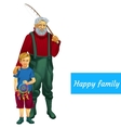 happy family father and son fishing together vector image vector image