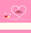 happy valentines day pink greeting card with vector image vector image
