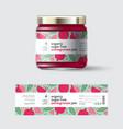 jam pomegranate label packaging jar sugar free vector image vector image