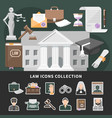 justice icons set background vector image vector image