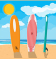 landscape of beach surfboard vector image