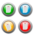 List icon on set of glass buttons vector image