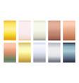 metallic color palette gradient background set vector image