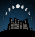 moon phases above night city vector image vector image