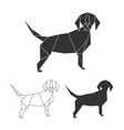 origami dog set line silhouette and vector image