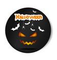 pumpkin smiling halloween black sticker vector image vector image