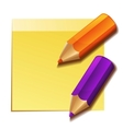Realistic yellow stick note and two color pencils vector image vector image