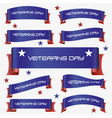 Red and blue curved veterans day ribbon banners vector image