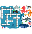 sea animals crossword template with cartoon vector image vector image
